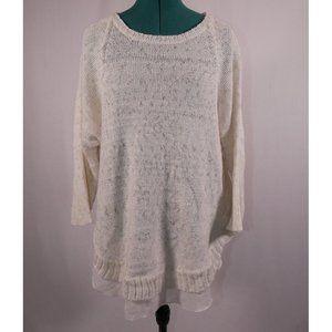 a.n.a Off-White Metallic Tunic Sweater Knit XL